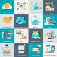 Icone piane di concetto di tecnologie dell'informazione