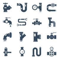 Set di icone bianche nere di tubi vettore
