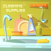Illustrazione di forniture di pulizia