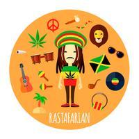 Illustrazione rotonda piana degli accessori del carattere di Rastafarian vettore