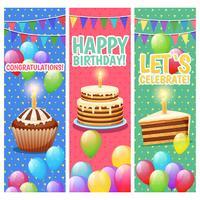 Set di banner verticale festose celebrazioni colorate vettore