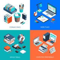 Office 2x2 concetto di design isometrico
