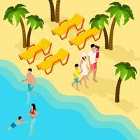 Insegna isometrica di vacanza tropicale della spiaggia della famiglia