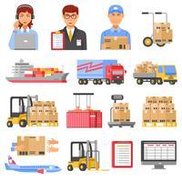 Logistica e consegna Set di icone decorative vettore