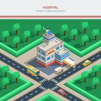 Costruttore di città isometrica con edificio ospedaliero