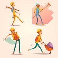 Set di icone retrò Cartoon Construction Builder vettore