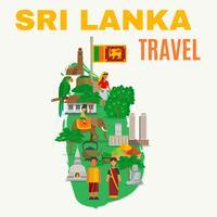 Illustrazione piatta dello Sri Lanka vettore