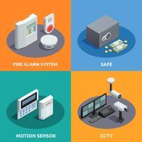 Sicurezza domestica isometrica 4 icone quadrate vettore