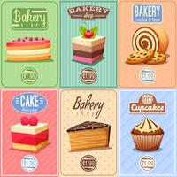 Collezione di mini manifesti di torte e dolci vettore