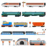 Set di icone colorate piatte di trasporto ferroviario vettore