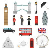 Set di icone piane di punti di riferimento di Londra