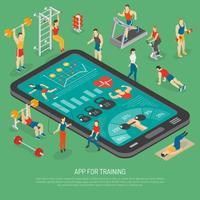Poster isometrico di app per smartphone accessori di fitness vettore