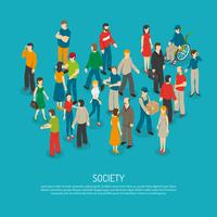 Poster di folla di persone vettore