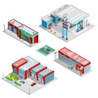 Composizione isometrica di edifici centro servizi auto vettore