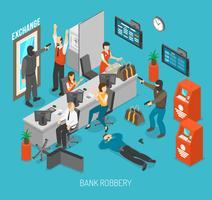 Illustrazione di rapina in banca vettore