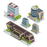 Composizione isometrica complessa degli edifici del centro commerciale vettore