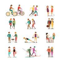 Set di icone decorative di amici e hobby