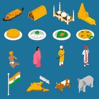 Raccolta isometrica delle icone delle attrazioni turistiche indiane vettore