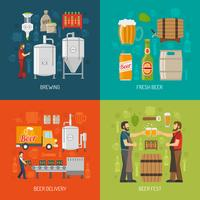 Set di icone di concetto di fabbrica di birra vettore