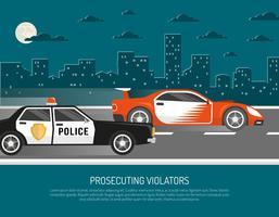 Poster di Street Racing Violation Scene Flat vettore