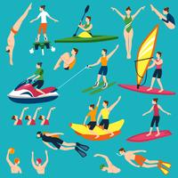 Set di sport acquatici e attività vettore
