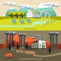 Banner di inquinamento ambientale e di energia verde vettore
