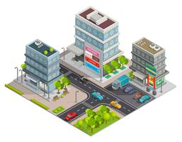 Banner isometrico complesso di edifici del centro commerciale
