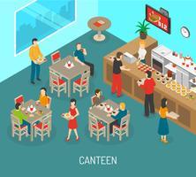 Illustrazione isometrica del manifesto del pranzo della mensa del posto di lavoro