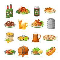 Set di icone piane di cibo birra Oktoberfest