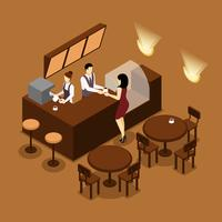 Barista Serving Customer Isometric Brown Poster vettore