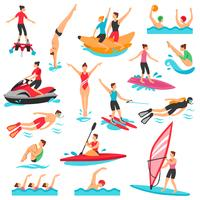 Set di sport acquatici vettore