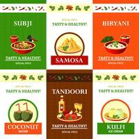 Le icone piane di cucina indiana hanno messo il manifesto vettore