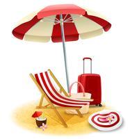 Illustrazione della sedia a sdraio e dell'ombrello della spiaggia