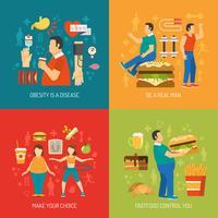 Concetto di obesità piatta vettore