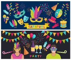 Banner di elementi di Carnevale vettore