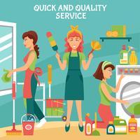 Illustrazione del servizio di pulizia vettore
