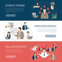 Set di banner orizzontale di consulenza di formazione aziendale