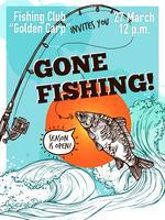 Poster di pesca pubblicitaria disegnata a mano