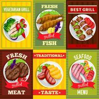 Set di mini poster per barbecue vettore