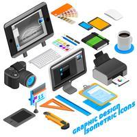 Set di icone isometriche di Graphic Design