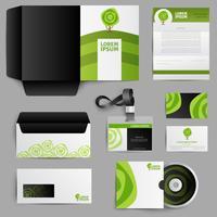 Identità aziendale Eco Design con albero verde vettore
