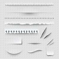 Set realistico di bordi di carta a scacchi trasparenti vettore