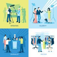 set di icone di concetto di giornalista e giornalista vettore