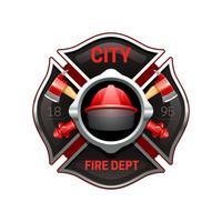 Illustrazione realistica di immagine dell'emblema dei vigili del fuoco vettore