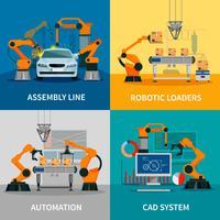 Set di icone di concetto di automazione