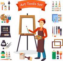 Set di strumenti di artista e arte vettore