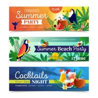 Set di banner festa tropicale spiaggia cocktail vettore
