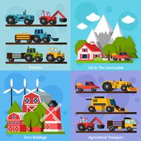 Set di icone di Farm Orthogonal Flat 2x2 vettore