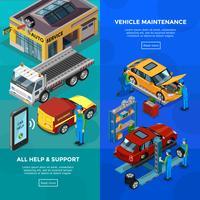 Insegne verticali isometriche di servizio dell'automobile vettore
