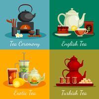 Set di icone del concetto di tè vettore